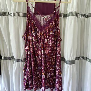 Maurices Purple Strappy Floral Lace Tank/Cami